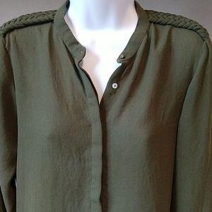 ZARA Military Braid Long Sleeve Blouse - M